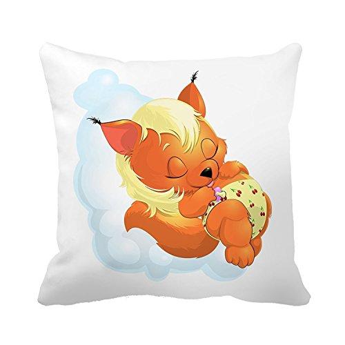 Warrantyll Taie d'oreiller bébé endormi Fox Couvre-lit Taie d'oreiller Maison Canapé Coussin décoratif, Coton, #Color 1, 18*18