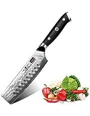 SHAN ZU Koksmes Nakiri keukenmes professioneel mes chefmes 16,5 cm universeel mes Damascus roestvrij staal extra scherp mes met ergonomische handgreep prachtige geschenkverpakking