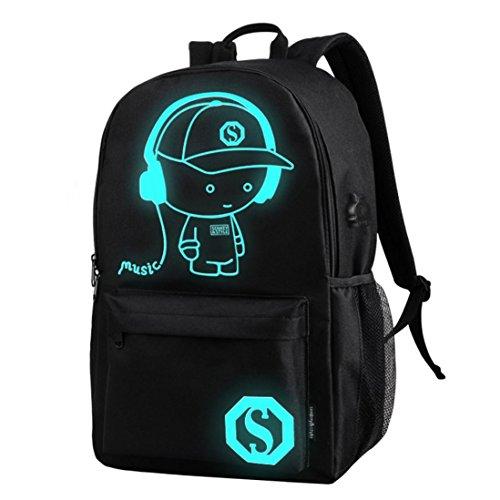 C 'est cool Jungen Schule Rucksack Luminous Schultasche Music Boy Oxford Schule Tasche mit Reißverschluss + 1Diebstahlschutz Lock, School Bags, schwarz