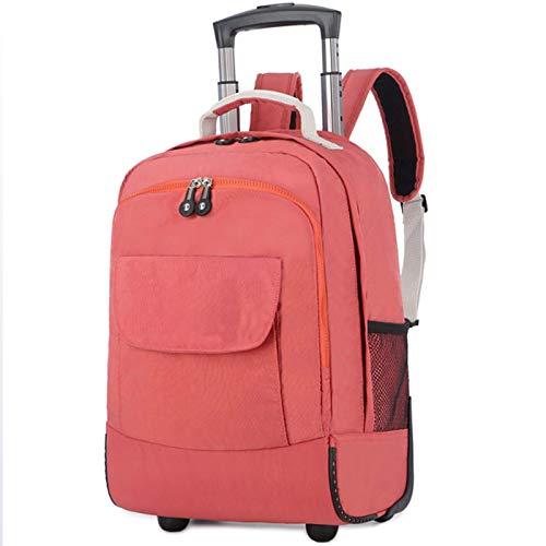 FREETT Travel Trolley Backpack, for Women, Men, Student, Wheeled Laptop Backpack, Multifunctional Trolley Suitcase, 30 * 21 * 44 cm, Waterproof,Pink