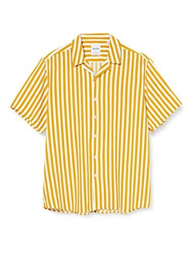 ONLY & SONS Herren ONSWAYNE SS Striped Viscose Shirt NOOS Hemd, Golden Spice, L