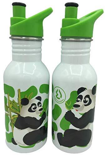WR Bouteille d'eau en acier inoxydable avec isolation sous vide Bouteille de boisson double paroi 500 ml (Blanc-PAND)