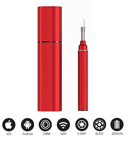 XJJY Ohr-Kamera 5.0MP 1080P WiFi Ear Scope Wireless-Ear Scope-Kamera mit 6-Achsen-Gyroskop für Android Ios Smartphone,Rot