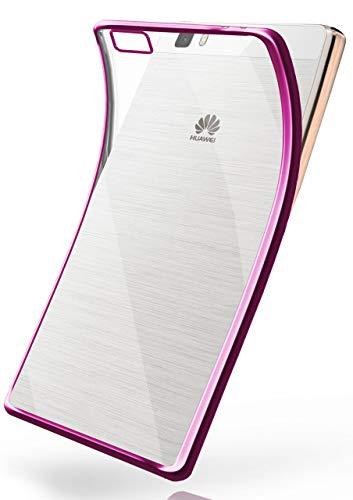 MoEx Cover in Silicone Trasparente Compatibile con Huawei P8 Lite 2015 | Bordo Metallizzato, Rosa