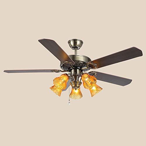 Araña retro del ventilador del techo, para la iluminación del techo, la luz colgante del dormitorio, el pasillo, la sala de estar, la lámpara colgante moderna, el diámetro 51.96in, la altura ajustable