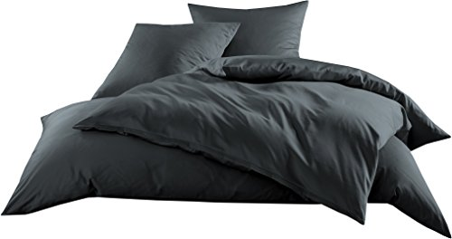 Mako-Satin Baumwollsatin Bettwäsche Uni einfarbig zum Kombinieren (Bettbezug 140 cm x 200 cm, Anthrazit)
