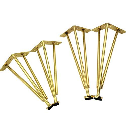 RENSHENKTO Triángulo Metal Muebles Pies Mesa Patas Reemplazo Soporte Para Escritorios Café Oro 4 Piezas Oro