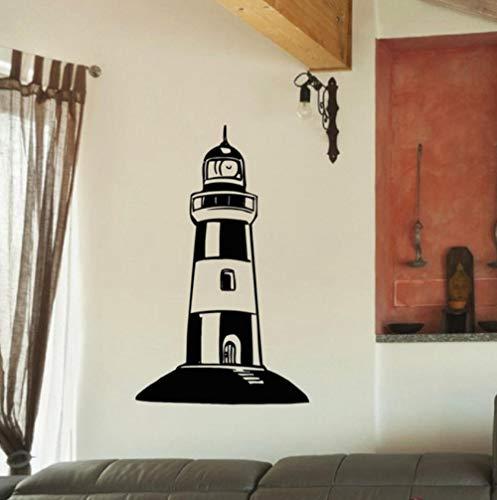 rylryl Gran faro pegatinas de pared faro tatuajes de pared de estilo mediterráneo decoración para el hogar pegatinas de pared 37x58 cm