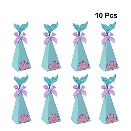 Amosfun - Cajas de caramelos de papel de sirena con nudos mariposas autoadhesivas, caja de regalo para baby shower, decoración de fiesta de cumpleaños, boda, 10 unidades