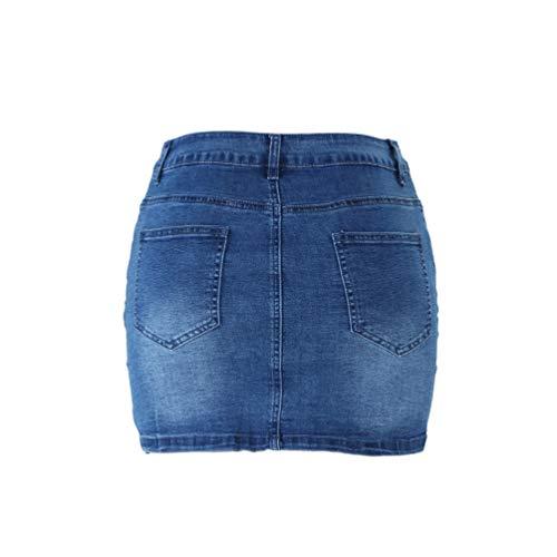 WanYangg Mujeres Verano Falda Vaquera Botón Mezclilla Mini De Mezclilla Corto Encantador Falda Cintura Alta Elástica Lápiz Falda 4#Azul