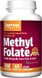 Jarrow Formulas Methyl Folate 5-MTHF Nutritional Supplement, Supports Brain, Memory, Cardiovascular Health, 400 mcg, 60 Count