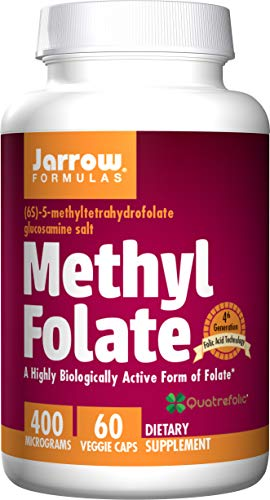 Jarrow Formulas Methyl Folate 400 mcg - 60 Veggie Caps - Highly Biologically Active Form of Folate - 4th Generation Folic Acid Technology - 60 Servings