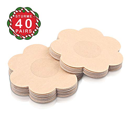 40 Pairs Nipple Covers Disposable, Breast Pasties Comfortable & Sexy, Adhesive Satin Petals Pasties for Women