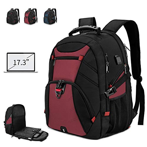 Laptop Backpack for Men 17 Inch Extra Large Travel Backpack Waterproof Business Backpack Anti Theft College School Bookbag with USB Charging Port 17.3 Gaming Computer Backpack for Women Men 45L Red