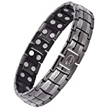 Jeroot Bracelet Magnetique,Bracelets Magnétiques Titane Magnetique Bracelet Homme Lien libre +Suppression (Grey)