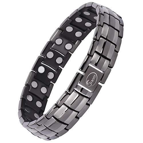 Jeroot Magnetarmband,Reines Kupfer Titan Herren Magnetische Armbänder für Arthritis Verschluss Armband Magnet Herren Gesundheit Magnetarmband Energetix (3500 gauss) (Titan Gris)
