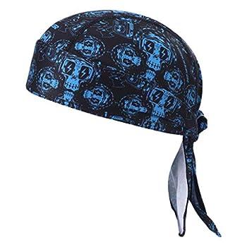 HEROBIKER Sweat Wicking Skull Cap Beanie Bandana Helmet Liner Outdoor Running Adjustable Breathable Quick Drying Blue