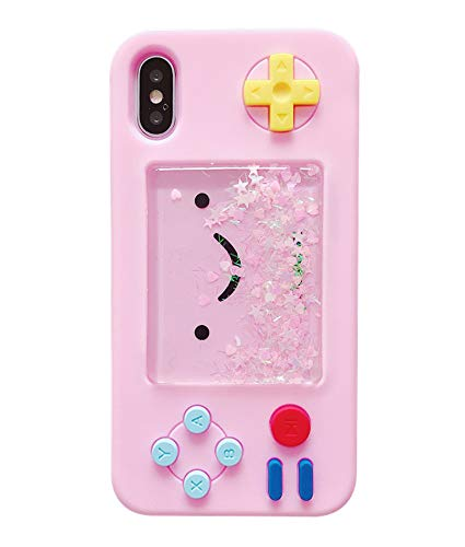 UnnFiko Squishy 3D Cartoon Game Case Compatible with iPhone 7 / iPhone 8, Creative Liquid Stars Funny Play Case Soft Rubber Protective Cover for Girls Women (Pink)