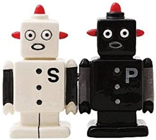Campy Robots Salt and Pepper Shaker Set - Handpainted Magnetized Ceramic by Pacific Giftware