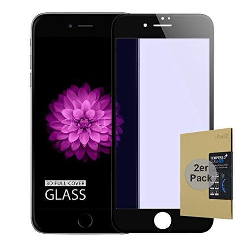 doupi 2X FullCover Panzerfolie für iPhone 6 Plus / 6S Plus (5,5 Zoll), Preimium 9H Hartglas HD Bildschirmschutz Anti Kratzer Glas Schutzfolie (2er Pack), schwarz