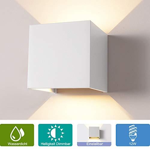 12W Wandleuchte Dimmbar Aussen/Innen LED Wandbeleuchtung, Warmes Licht Wasserdicht Verstellbare Walllampe, Dimmer Aluminium Wasserdicht für Garten/Weg Veranda hell-Warm (Weiß)