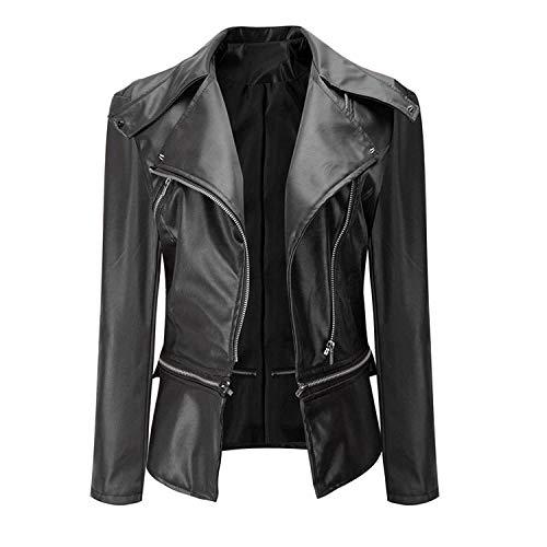Damen Jacket Frühling Herbst Kunstlederjacke Chic Trendigen Hipster Lederjacke Langarm Mit Reißverschluss Pu-Leder Mantel Outerwear Schwarz (Color : Schwarz, Size : XL)