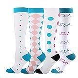 MARIJEE 4 Paar Damen Hochleistungs-Skisocken, Kompressionssocken, Sportsocken, langer Schlauch, Thermo-Socken, kniehohe Stiefelsocken (mehrfarbig, L)