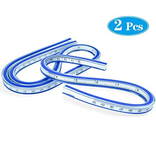 SANTOO 2 STK Flexibles Kunststoff Kurvenlineal Maß Werkzeug für Kurvenverläufe 30CM + 60CM Kurve Lineal Handwerk Zeichnen Maß Werkzeug