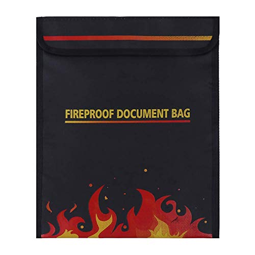 Fireproof Documents Bag, Fireproof Bag Safe Storage for Money Documents Jewelry LiPo Battery Passport No-Itch Silicone Coated Fiberglass (New Upgraded) Black (Big)