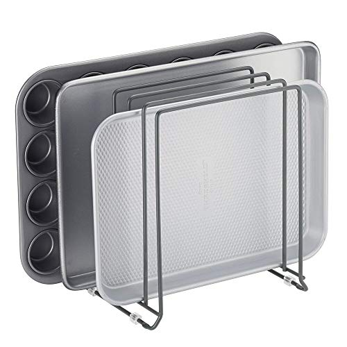 mDesign Metal Wire Organizer Rack for Kitchen Cabinet Pantry Shelves - Holder with 5 Slots for Skillets Frying Pans Lids Cutting Boards Vertical or Horizontal Placement - Graphite Gray