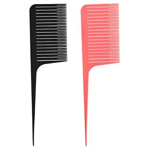 2 pcs. Profi Friseurkamm Spezialsträhnenkamm zum Weben und Färben von Haare, Rosa + Schwarz