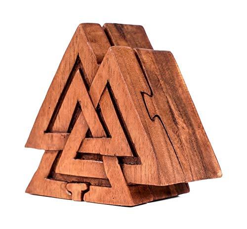 WINDALF Vikings Caja de regalo y joyero VALKNUT 10 cm Odins nudos de madera decoración regalo joyero hecho a mano de madera