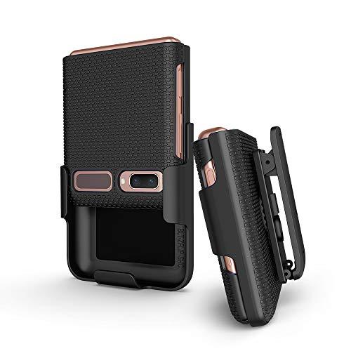 BELTRON Schutzhülle mit Clip für Galaxy Z Flip 5G, aufsteckbar, Schutzhülle mit drehbarem Gürtelholster, integrierter Ständer, für Samsung Galaxy Z Flip Phone (SM-F700, SM-F707), Schwarz