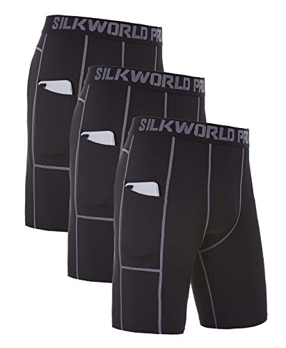 SILKWORLD Men's Compression Tight Pockets Sports Baselayer Running Performance Shorts(Pack of 3), 3 Pack: Black(Grey Stripe)#3, Large