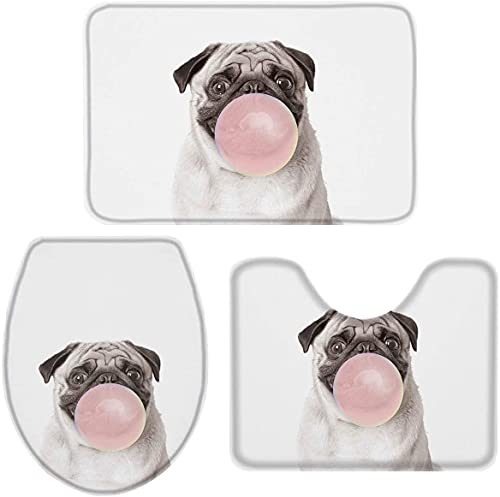 YUMNKJHGFRT 3 Pieces Bathroom Rugs and Mats Sets, Non Slip Water Absorbent Bath Rug, Toilet Seat/Lid Cover, U-Shaped Toilet Mat, Home Decor Doormats - Puppy Pug Dog Blowing Bubble Gum Cute Animal