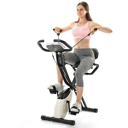Coolautoparts Bicicleta Estática Plegable con Respaldo, 4 en 1, Bicicleta Fitness 2 Bandas Pantalla LCD 10 Niveles de Resistencia, Bicicleta de Ejercicios Aeróbicos Gimnasio Casa [EU Stock]