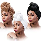 3 Pieces Women Stretch Head Wrap Scarf Stretchy Turban Long Hair Scarf Wrap Solid Color Soft Head Band Tie (Black, White, Brown)