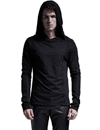 Punk Rave Men's Gothic Dark Black Hooded T-Shirt Stretch Audel Big Cap Punk Rivet Top S-M