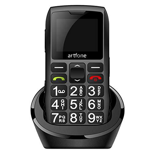 artfone Mobiltelefon Seniorenhandy ohne Vertrag | Handy für senioren mit großen Tasten | 1,77 Zoll Farbdisplay | SOS Notruf-Knopf | 1400 mAh Akku | Großtastenhandy mit Ladestation