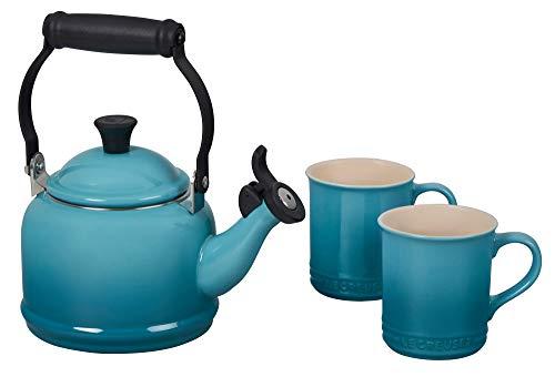 Le Creuset Enamel On Steel Demi Kettle & Stoneware Set of 2 Mugs, 1.25 qt. Kettle & (2) 14 oz. Mugs, Caribbean