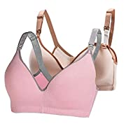 MATERIAL - 94% cotton + 6% Spandex. FLEXIBLE SIZE - Hooks can easily modify the width of the bra if you need and easy to snap on and off quickly. DESIGNED FOR BREASTFEEDING MOTHERS - It offers no compression with a deep V-neck. Triangle-cup design gi...