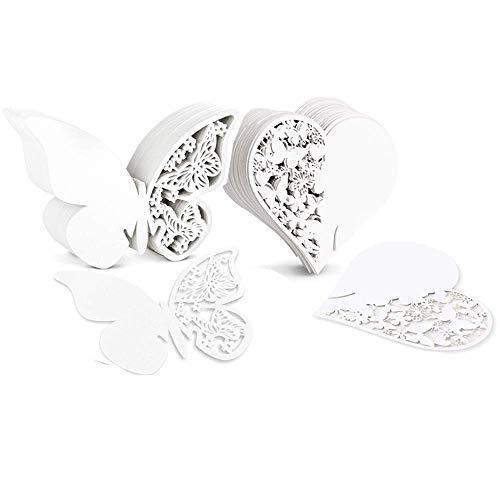 Amor Blanco y Una Tarjeta De Corte por Laser con Forma De Mariposa,Pack de 100
