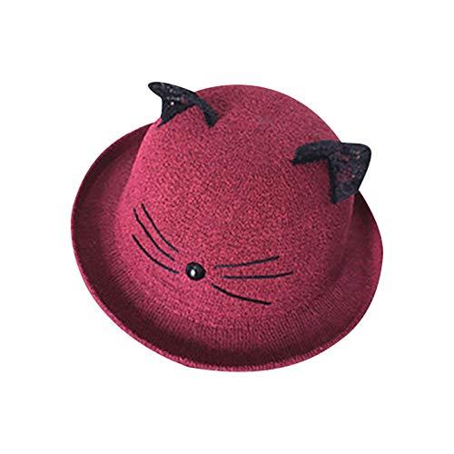 TTivxe Sombrero de pescador para niños, con bonito estampado de gato, para exteriores, para verano rojo vino Talla única