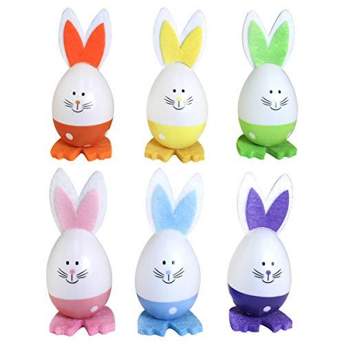 By Robelli Juego de 6 unidades de 10 cm, diseo de huevos de Pascua de madera Shabby Chic para colgar  juegos de huevos multicolor, para nios y nias (6 unidades de conejitos de huevo coloridos)