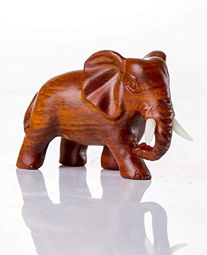Glove Escultura de Elefante Tallado en Madera Adorno de estatuilla de Elefante para decoración del hogar