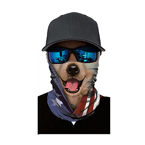 IsMoon Multifunktionstuch Herren & Damen, Unisex Männer Lustig Tiger Wolf Schwein 3D Tiere Druck Motorrad Sturmhaube Bunte Fahrrad Halstuch Kopftuch Funktionstuch Gesichtsschal