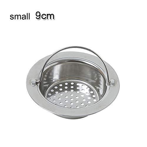 Zeef voor spoelbak van roestvrij staal, afvoer voor spoelbak, afvoer voor wastafels, haarfilter, gebruikt in keuken, badkamer, badkuip, voor vis, douche, toilet, wastafels, Small 9cm