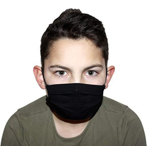 GymStern Stoffmaske Mundbedeckung Behelfsmaske Mundschutz Gesichtsmaske Kinder & Erwachsene Baumwollstoff ÖkoTex waschbar wiederverwendbar Farbe Schwarz Größe Teenager 16x6 cm