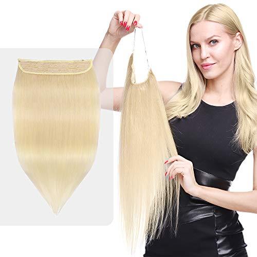 Elailite Extension Capelli Veri Filo Invisibile Fascia Unica Double Volume senza Clip 45cm 100% Remy Human Hair 100g #60 Biondo Platino