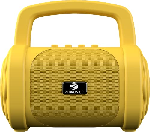 Zebronics Zeb-County 3 Portable Wireless Speaker Supporting Bluetooth v5.0, FM Radio, Call Function, Built-in Rechargeable Battery, USB/Micro SD Card Slot, 3.5mm AUX Input, TWS (Yellow)